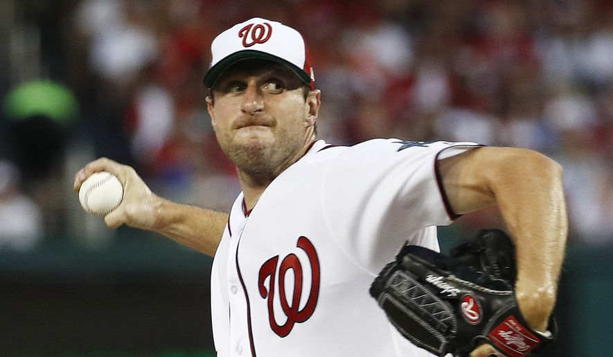 Washington Nationals pitcher Max Scherzer (31) throws during first inning of the Major League Baseball All-star Game, Tuesday, July 17, 2018 in Washington. (AP Photo/Patrick Semansky) **FILE**