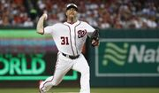 Washington Nationals pitcher Max Scherzer (31) throws in the first inning during the Major League Baseball All-star Game, Tuesday, July 17, 2018 in Washington. (AP Photo/Patrick Semansky)