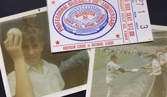This collage of photos shows Ben Walker, left, holding the Johnny Bench foul ball that hit him in the head at the baseball All-Star game at RFK Stadium in Washington on July 23, 1969, Ben Walker reaching for an autograph from Atlanta Braves pitcher Phil Niekro, also on July 23, 1969, and the ticket to the game that was rained out on July 22 and played on July 23, 1969. Associated Press baseball writer Ben Walker will be at the 2018 All-Star game in Washington scheduled for Tuesday, July 17, 2018. (AP Photo/Ben Walker)