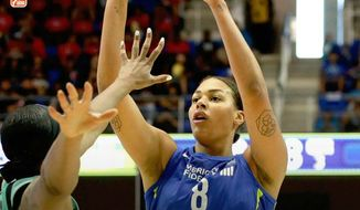 Liz Cambage of the Dallas Wings broke the WNBA single-game scoring record with a 53-point performance on Tuesday, July 17, 2018 against the New York Liberty. (Photo courtesy of WNBA) **FILE**