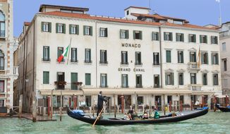 Arriving at the Hotel Monaco by gondola in Venice, Italy.  (Photograph by Alison Reynolds / Special to The Washington Times)