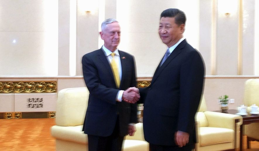 Defense Secretary Jim Mattis met with Chinese President Xi Jinping last month in Beijing, where he revealed some of his views about the People's Liberation Army's military training and experience. (Associated Press/File)
