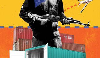 Border War Illustration by Linas Garsys /The Washington Times