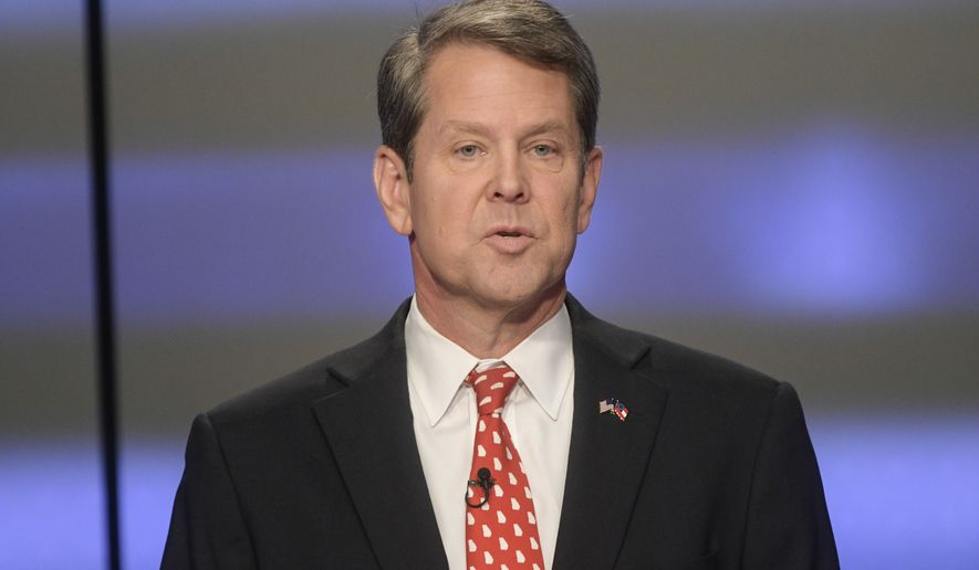 "Georgia Secretary of State Brian Kemp said Maria Palacios didn't meet a requirement in the Georgia Constitution that candidates be ""citizens of this state for two years."" (Associated Press)"
