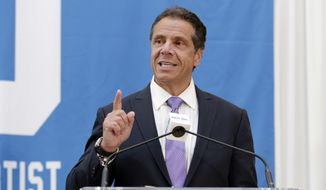 New York Gov. Andrew Cuomo attends the ceremony marking Billy Joel's 100th performance at New York's Madison Square Garden, Wednesday, July 18, 2018. (AP Photo/Richard Drew) ** FILE **