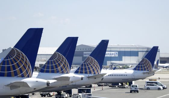 United Airlines commercial jets sit at a gate at Terminal C of Newark Liberty International Airport, Wednesday, July 18, 2018, in Newark, N.J. (AP Photo/Julio Cortez)