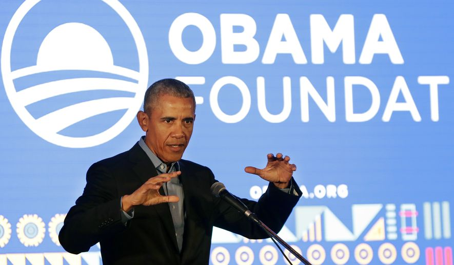 Former US President Barack Obama speaks during his town hall for the Obama Foundation at the African Leadership Academy in Johannesburg, South Africa, Wednesday, July 18, 2018. (AP Photo/Themba Hadebe, Pool) **FILE**