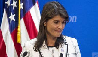 U.S. Ambassador to the United Nations Nikki Haley speaks at The Heritage Foundation about the U.S. withdrawal from the U.N. Human Rights Council, in Washington, Wednesday, July 18, 2018. (AP Photo/Cliff Owen)