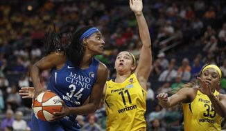 Minnesota Lynx WNBA basketball player Sylvia Fowles, left, is defended by Indiana Fever's Natalie Achonwa during a game a the Target Center in Minneapolis, Wednesday, July 18, 2018.  (Jerry Holt/Star Tribune via AP)
