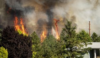Trees burn near a home Tuesday, July 17, 2018 in Spokane, Wash. Fire crews from Spokane, Spokane Valley and Fire District 9 are fighting a fast-moving wildfire just north of Upriver Drive that has engulfed several homes and prompted fire officials to call for a level three evacuation for homeowners in the area. (Colin Mulvany/The Spokesman-Review via AP)