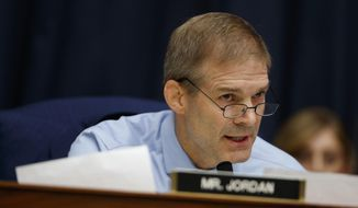 "In this Thursday, July 12, 2018, file photo, Rep. Jim Jordan, R-Ohio, questions FBI Deputy Assistant Director Peter Strzok during the House Committees on the Judiciary and Oversight and Government Reform hearing on ""Oversight of FBI and DOJ Actions Surrounding the 2016 Election,"" on Capitol Hill in Washington. (AP Photo/Evan Vucci, File)"