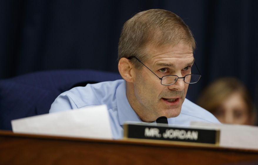 """In this Thursday, July 12, 2018, file photo, Rep. Jim Jordan, R-Ohio, questions FBI Deputy Assistant Director Peter Strzok during the House Committees on the Judiciary and Oversight and Government Reform hearing on """"Oversight of FBI and DOJ Actions Surrounding the 2016 Election,"""" on Capitol Hill in Washington. (AP Photo/Evan Vucci, File)"""