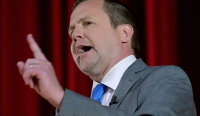 In a Saturday, April 22, 2017, file photo, Republican gubernatorial candidate Corey Stewart, speaks during a Tea Party debate at Goochland High School in Goochland, Va.  Stewart, an outspoken supporter of President Donald Trump who narrowly lost a bid to be Virginia's GOP candidate for governor is now running for the U.S. Senate. Stewart announced his Senate candidacy Thursday, July 13, 2017. (AP Photo/Steve Helber, File)