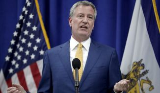 New York City Mayor Bill De Blasio speaks during a news conference announcing a proposed ordinance to provide low income residents with access to free legal representation in landlord-tenant disputes, Tuesday, May 1, 2018, in Newark, N.J. (AP Photo/Julio Cortez) **FILE**