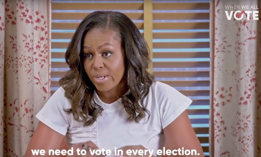 Former first lady Michelle Obama takes part in a vote registration initiative with celebrities like Tom Hank and Lin-Manuel Miranda. (Image: YouTube, When We All Vote)