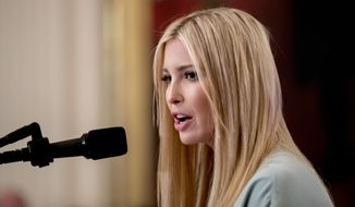 Ivanka Trump, the daughter of President Donald Trump, speaks before President Donald Trump signs an Executive Order that establishes a National Council for the American Worker during a ceremony in the East Room of the White House, Thursday, July 19, 2018, in Washington. (AP Photo/Andrew Harnik)