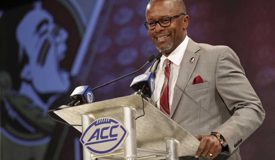 Florida State head coach Willie Taggart answers a question during a news conference at the NCAA Atlantic Coast Conference college football media day in Charlotte, N.C., Thursday, July 19, 2018. (AP Photo/Chuck Burton)