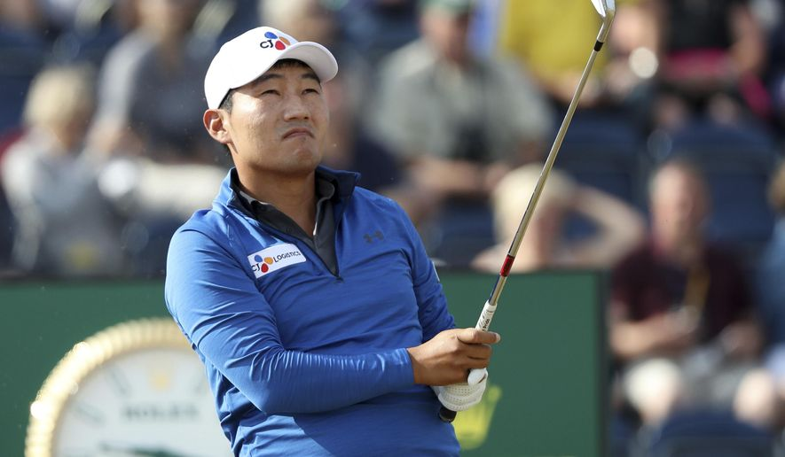 Sung Kang of Korea plays off the 2nd tee during the first round of the British Open Golf Championship in Carnoustie, Scotland, Thursday July 19, 2018. (AP Photo/Peter Morrison)