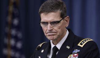 "FILE - In this Aug. 30, 2016 file photo, U.S. Central Command Command Commander, U.S. Army Gen. Joseph Votel, speaks to reporters at the Pentagon. Votel said on Thursday that he has received no new guidance from the Pentagon on cooperating with Russia in Syria and that he is taking a ""steady-as-she-goes"" approach. (AP Photo/Manuel Balce Ceneta)"