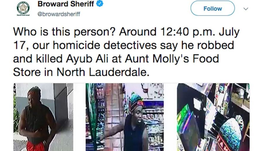 The Broward Sheriff's Office is searching for this suspect. (Image: https://twitter.com/browardsheriff/status/1020027186798055425/photo/1)