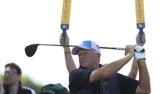 Sandy Lyle of Scotland plays off the 10th tee during a practice round ahead of the British Open Golf Championship in Carnoustie, Scotland, Wednesday July 18, 2018. (AP Photo/Jon Super)