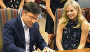 U.S. Rep. Mike Johnson, R-Benton, files his paperwork at the secretary of state's office as he was qualified for his congressional re-election bid, on Friday, July 20, 2018, in Baton Rouge, La. Friday was the last day of the sign-up period for the Nov. 6 ballot. Johnson's wife Kelly sits next to him. (AP Photo/Melinda Deslatte) **FILE**