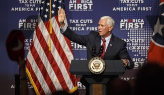 Vice President Mike Pence speaks at a tax policy event hosted by America First Policies at Lee University's Pangle Hall on Saturday, July 21, 2018, in Cleveland, Tenn. Pence was the keynote speaker at the event.  (Doug Strickland/Chattanooga Times Free Press via AP)