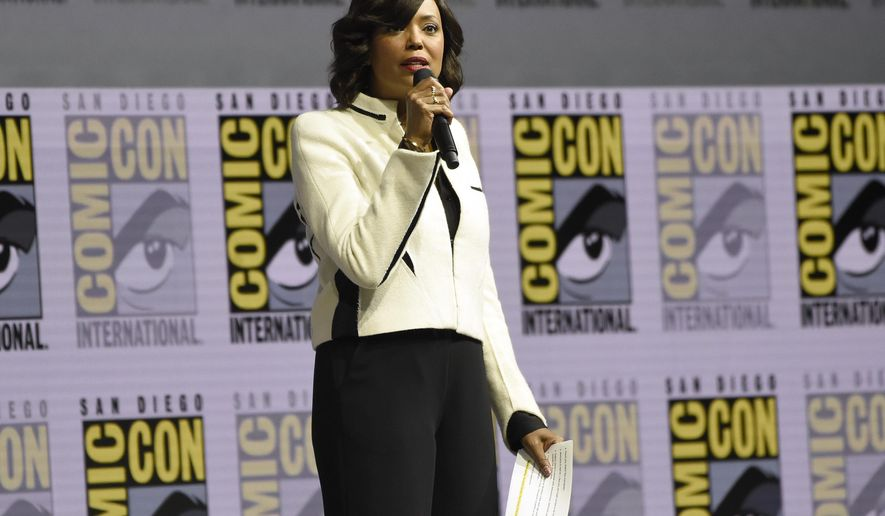 Moderator Aisha Tyler speaks at the Warner Bros. Theatrical panel on day three of Comic-Con International on Saturday, July 21, 2018, in San Diego. (Photo by Chris Pizzello/Invision/AP)