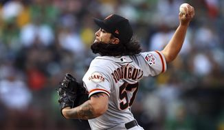 San Francisco Giants pitcher Dereck Rodriguez works against the Oakland Athletics in the first inning of a baseball game Friday, July 20, 2018, in Oakland, Calif. (AP Photo/Ben Margot)