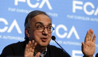 In this Friday, June 1, 2018 file photo, Fiat Chrysler CEO Sergio Marchionne speaks during a press conference at the FCA headquarter, in Balocco, Italy. (AP Photo/Luca Bruno, file)