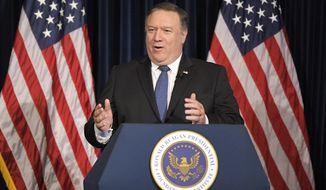 U. S. Secretary of State Mike Pompeo speaks at the Ronald Reagan Presidential Library, Sunday, July 22, 2018, in Simi Valley, Calif. (AP Photo/Mark J. Terrill)