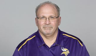 FILE - This May 5, 2016 file photo shows Tony Sparano of the Minnesota Vikings NFL football team. Sparano has died at the age of 56. The Vikings say he died early Sunday, July 22, 2018 but did not give a cause of death. He had been the Vikings' offensive line coach since 2016. Sparano began his NFL coaching career in 1999 and had stints as a head coach with the Miami Dolphins and Oakland Raiders. (AP Photo) **FILE**
