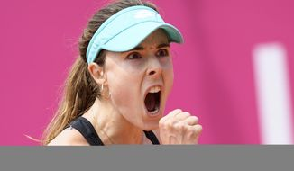 Alize Cornet of France reacts during the final game against Mandy Minella of Luxembourg, during the final game at the WTA Ladies Championship tennis tournament in Gstaad, Switzerland, Sunday, July 22, 2018. (Anthony Anex/Keystone via AP)