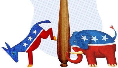 Supreme Court Struggle Illustration by Greg Groesch/The Washington Times