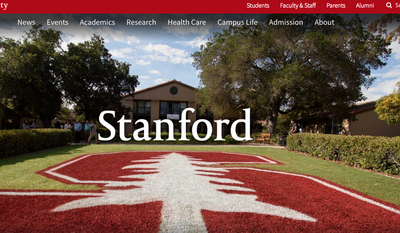 Screen capture from the website for Stanford University, accessed July 23, 2018. (Stanford.edu)