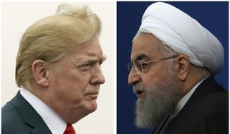 This combination of two pictures shows U.S. President Donald Trump, left, on July 22, 2018, and Iranian President Hassan Rouhani on Feb. 6, 2018. In his latest salvo, Trump tweeted late on Sunday, July 22, that hostile threats from Iran could bring dire consequences. (AP Photo)