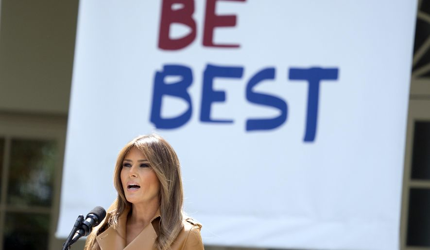 In this May 7, 2018, file photo, first lady Melania Trump speaks on her initiatives during an event in the Rose Garden of the White House in Washington. (AP Photo/Andrew Harnik, File)