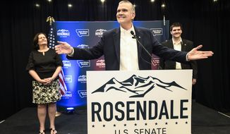FILE - In this June 5, 2018 file photo, Matt Rosendale addresses supporters in Helena, Mont., after winning the Republican nomination for the U.S. Senate. Rosendale will challenge Democratic incumbent Jon Tester in November. After an expensive four-way primary Rosendale is lagging far behind Tester in campaign cash. (Thom Bridge/Independent Record via AP, File)
