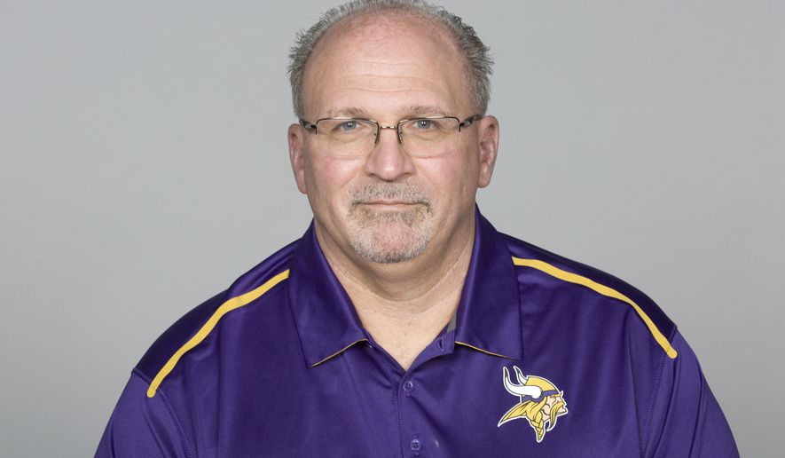 FILE - This May 5, 2016 file photo shows Tony Sparano of the Minnesota Vikings NFL football team. Sparano has died at the age of 56. The Vikings say he died early Sunday, July 22, 2018 but did not give a cause of death. He had been the Vikings' offensive line coach since 2016. Sparano began his NFL coaching career in 1999 and had stints as a head coach with the Miami Dolphins and Oakland Raiders. (AP Photo)