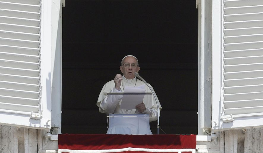 Pope Francis delivers his message during the Angelus noon prayer in St. Peter's Square at the Vatican, Sunday, July 22, 2018. (AP Photo/Gregorio Borgia)