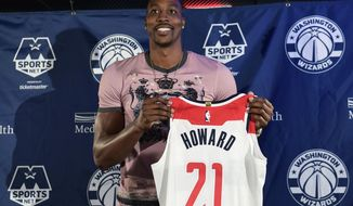 Washington Wizards recently acquired center Dwight Howard poses for a photo during a news conference in Washington, Monday, July 23, 2018. Howard, an eight-time All-Star, averaged 16.6 points per game and 12.5 rebounds last season with the Charlotte Hornets. (AP Photo/Susan Walsh)