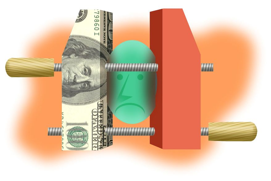 Illustration on the pressures against the middle class by Alexander Hunter/The Washington Times