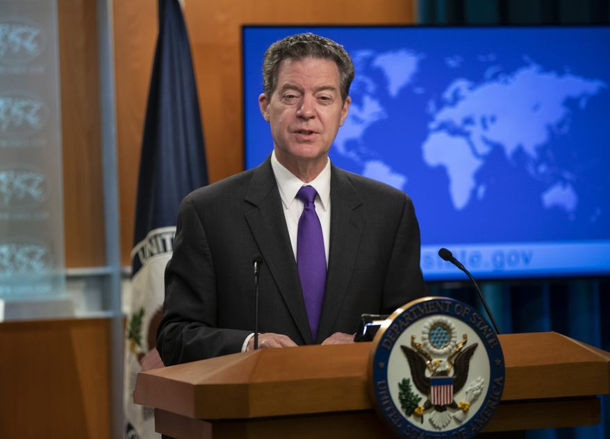 Ambassador-at-Large for International Religious Freedom Sam Brownback, speaks to reporters as he unveils the annual U.S. assessment of religious freedom around the world, at the State Department in Washington, Tuesday, May 29, 2018. (AP Photo/J. Scott Applewhite)