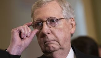 Senate Majority Leader Mitch McConnell charged the committees with evaluating sanctions legislation against Russia and to recommend additional measures that could respond to or deter Russian malignant behavior. (Associated Press)