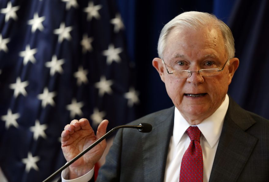 Attorney General Jeff Sessions delivers remarks on the opioid and fentanyl crisis, Friday, July 13, 2018, in Portland, Maine. (AP Photo/Robert F. Bukaty)