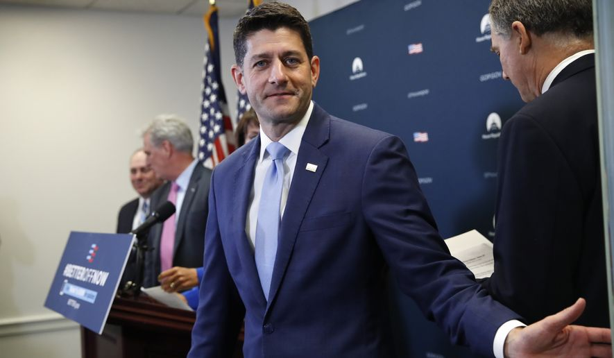 House Speaker Paul Ryan of Wis., closes the door before speaking at a news conference after a Republican caucus meeting, Tuesday, July 24, 2018, on Capitol Hill in Washington. (AP Photo/Jacquelyn Martin)