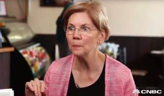Massachusetts Sen. Elizabeth Warren sits down for an interview with CNBC's John Harwood, July 24, 2018. (Image: CNBC screenshot)