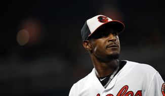 Baltimore Orioles center fielder Adam Jones walks on the field between innings of a baseball game against the Boston Red Sox, Monday, July 23, 2018, in Baltimore. (AP Photo/Patrick Semansky) **FILE**