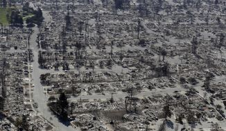 FILE - In this Oct. 14, 2017 file photo, an aerial view shows the devastation of the Coffey Park neighborhood after a wildfire swept through in Santa Rosa, Calif. California Gov. Jerry Brown has thrown his support behind limiting liability for electric utilities when their equipment causes wildfires. (AP Photo/Marcio Jose Sanchez, File)