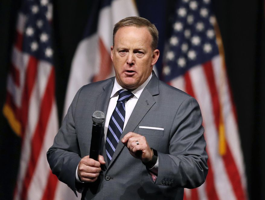 Former White House press secretary Sean Spicer speaks during the Republican Party of Iowa's annual Reagan Dinner in Des Moines, Iowa. (AP Photo/Charlie Neibergall, File)